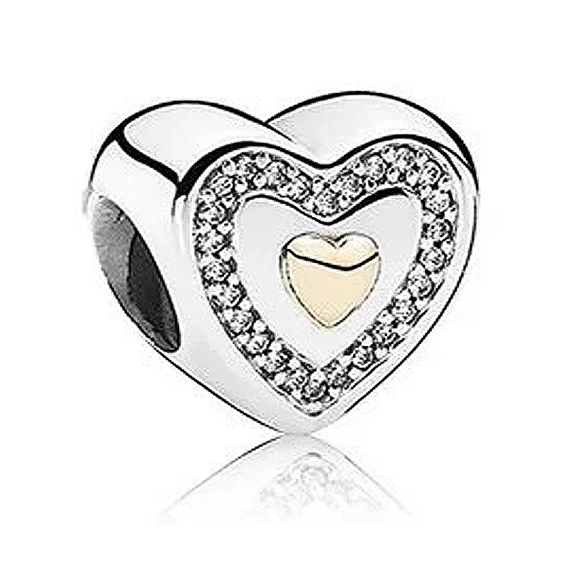 Liberal Authentic 925 Sterling Silver Bead Charm Gold Always In My Heart With Crystal Beads Fit Pandora Bracelet Diy Jewelry Beads Beads & Jewelry Making