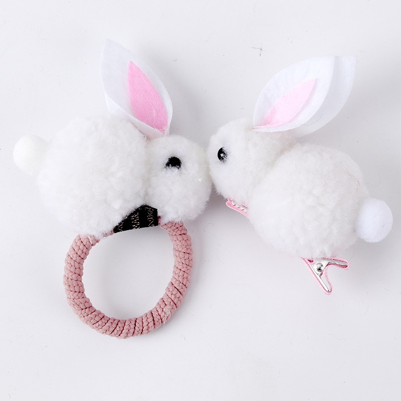 Children's Headdress Bunny Hair Tie Girls Tie Hair Rubber Band Pet Tied Hair Girl Hair Jewelry Cute Handmade Works