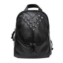2017 Fashion Women Soft Leather Backpacks Rivet Schoolbags for Teenage Girls Female Bagpack Lady Small Travel Backpack Mochila