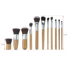 11pcs/set Professional Natural Bamboo Makeup Brushes Foundation Blending Brush Tool Women Facial Beauty Brushes