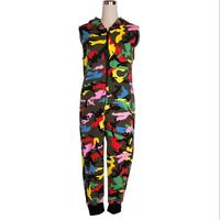 New Fashion Kids Hip Hop Dance performance Camouflage playsuit loose overalls one piece Pants harem sleeveless Hooded jumpsuit