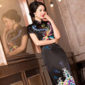 New Noble Chinese Traditional Handmade 100% Silk Women's Embroider Phoenix Elegant Long Cheong-sam Dress M-3XL