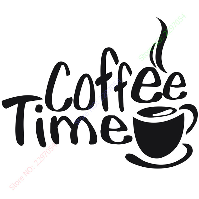 2017 New Coffee Time Kitchen Quote Vinyl Decal Art Wall