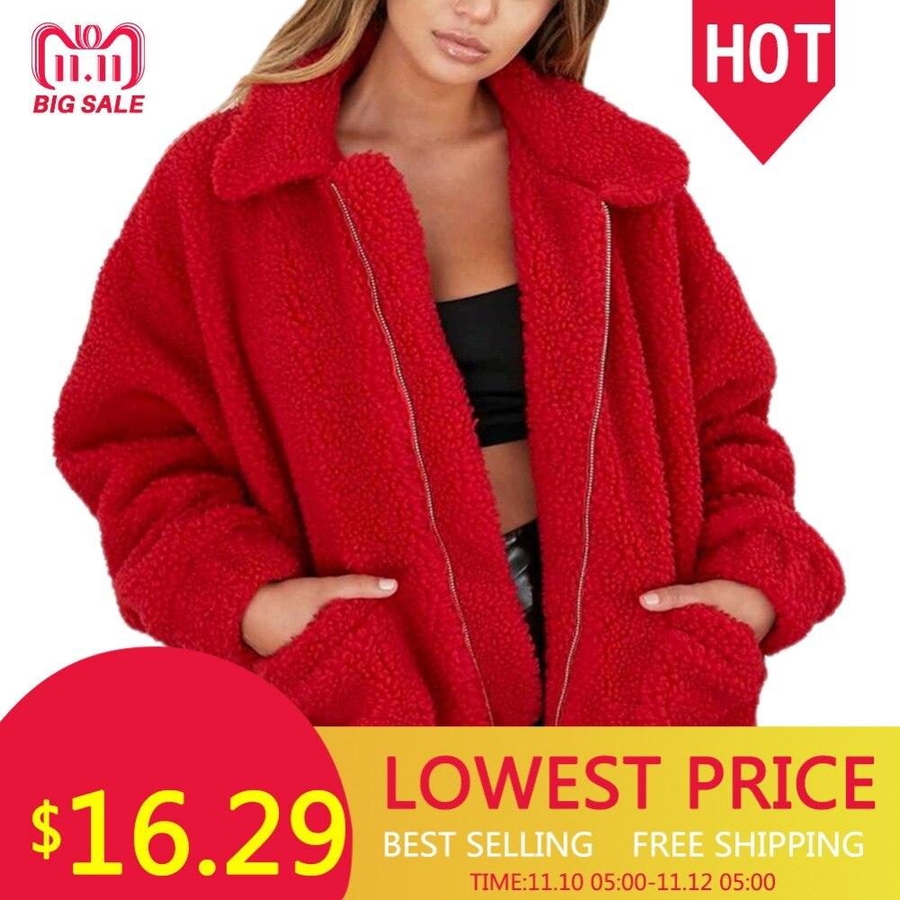Moda solapa sudadera polar piel abrigo 2018 mujeres otoño invierno cálido suave chaqueta gruesa felpa cremallera abrigo corto prendas de abrigo