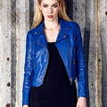 LIENZY Autumn Women Pu Jacket Screw Thread Long Sleeve Oblique Zipper Blue Turndown Neck Crop Leather Jacket Coat Women Outwear