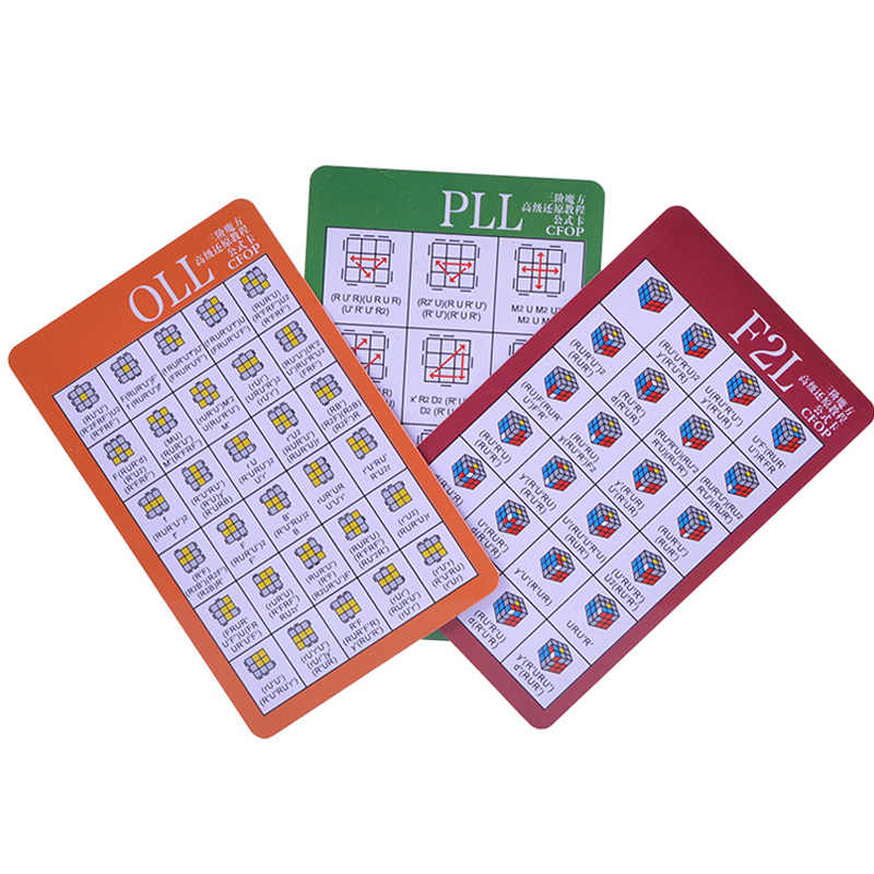 3 sheets/set CFOP formula for 3x3 Speed Magic Cube F2L PLL
