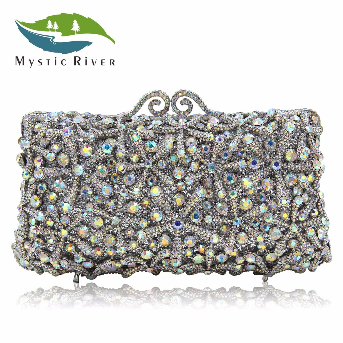 Mystic River Fashion Flower Clutch Bags Full Crystal Clutches Women Silver Party Purse Ladies Wedding Bag With Long Chain free shipping a15 36 sky blue color fashion top crystal stones ring clutches bags for ladies nice party bag