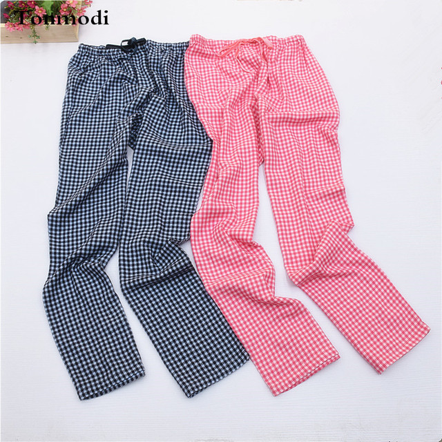 Ladies pants Cotton woven flannel trousers pants Plaid Women Sleep Bottoms