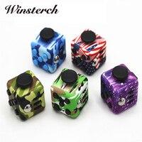 Camouflage 3 3cm Set Fidget Cube PVC Desk Finger Toy Squeeze Stress Reliever Glide Flip Spin