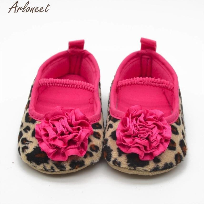 ARLONEET Fashion Baby Shoes Prewalker 2017 Infant Girls Leopard Flowers Soft Bottom Prewalker Oct19