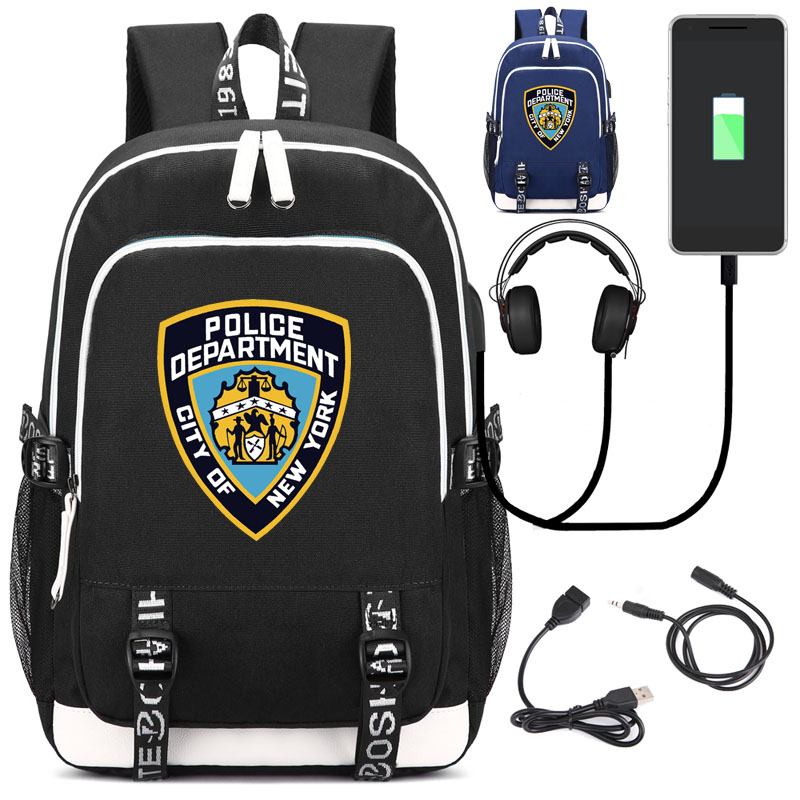 NYPD New York City Police Department Backpack with USB Charging Port and Lock &Headphone pair of chic rhinestoned water drop earrings for women