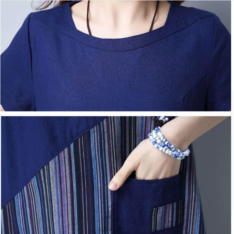 2018 Women Summer Linen cotton Floral Striped Vintage Retro Style Female O-Neck Short sleeve Pocket Casual Loose Dresses CM009 6