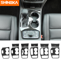 SHINEKA Carbon Fiber Car Gear Shift Panel Water Cup Holder Front Storage Box Panel Cover Stickers For Jeep Grand Cherokee 2011+