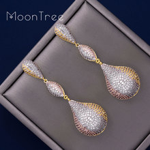 MoonTree 65mm Luxury Trendy Ball Full Mirco Pave Cubic Zircon Earrings For Woman Ladies Wedding Party Engagement Jewelry