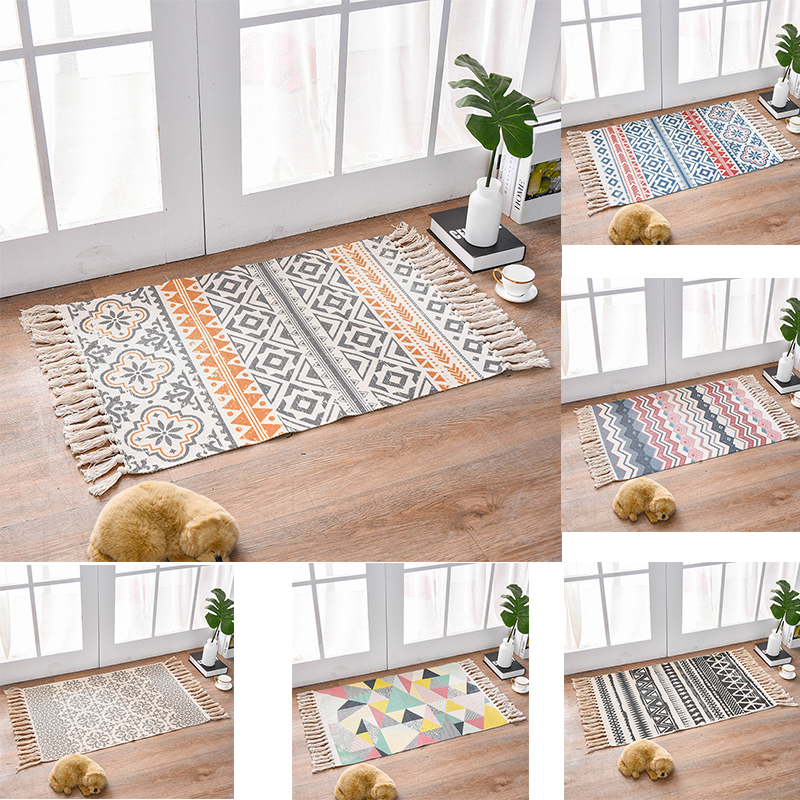 Morroco Carpet For Living Room Bedroom Rug Cotton Tassels Sofa Dyed Table Ruuner Bedspread Tapestry Home Decoration 60X90cm Size