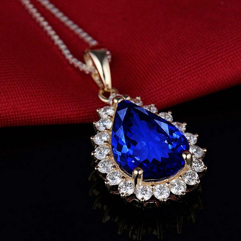 Pera 10x14mm 14Kt Oro Giallo Tanzanite Ciondolo di Diamanti, Naturale AAA Tanzanite Ciondolo, solido Ciondolo In Oro Per Le Donne E0080 - 3