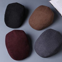 red gray black plus size 62cm winter Wool Male Beret Cap Hats For Men Vintage Newsboy Flat Cap Dad Warm Snow Peaked Hats Boina