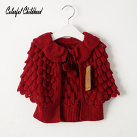 Adorable Children Clothing Boys Girls Candy Color Knitted Cardigan Sweater Kids Pinapple Design Outwear Spring Autumn