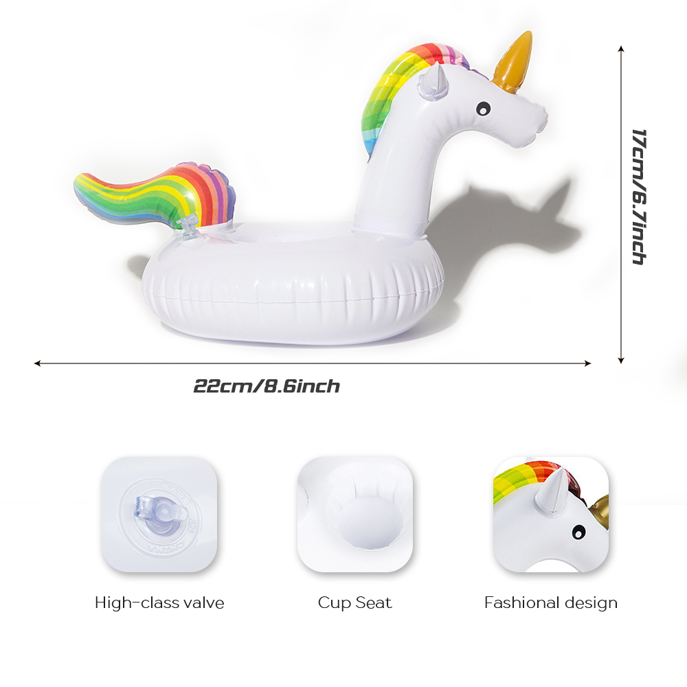 DMAR Inflatable Unicorn Drink Holder Pool Float Cup Holder Swimming ...