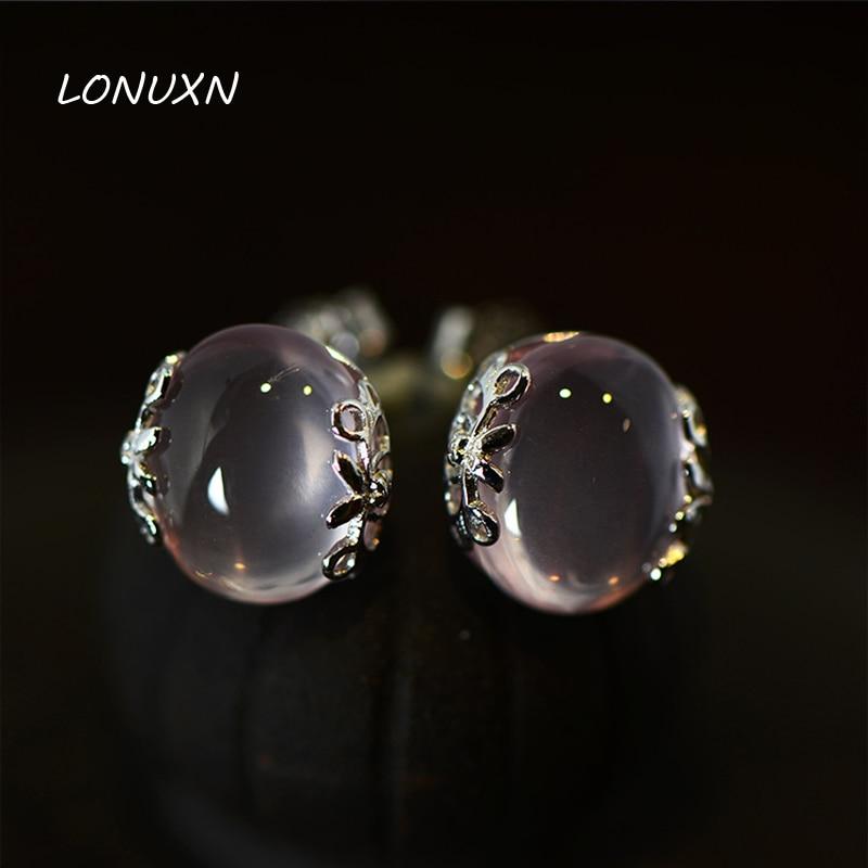 925 Sterling Silver Semi-precious Stones Natural QUARTZ Pink Earrings Women Jewelry Retro Court Style Girlfriend Birthday Gift