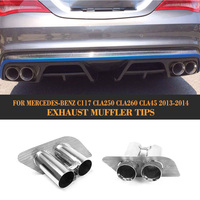 Stainless Steel Car Exhaust Pipe Tips Tail Pipes For Benz Fit W117 C117 CLA250 CLA45 Non