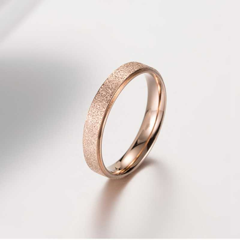 Eenvoudige Scrub Paar Ring Rose Gold 4 Mm 6 Mm Bruiloft Bruiloft Ring Mode Mannen En Vrouwen Ring Bruids Sieraden