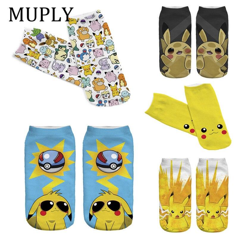 Women Cute Pokemon Harajuku   Socks   with Print 3D Cute Pikachu Low Cut Ankle Comfortable Hosiery Meias Funny   Socks   Women