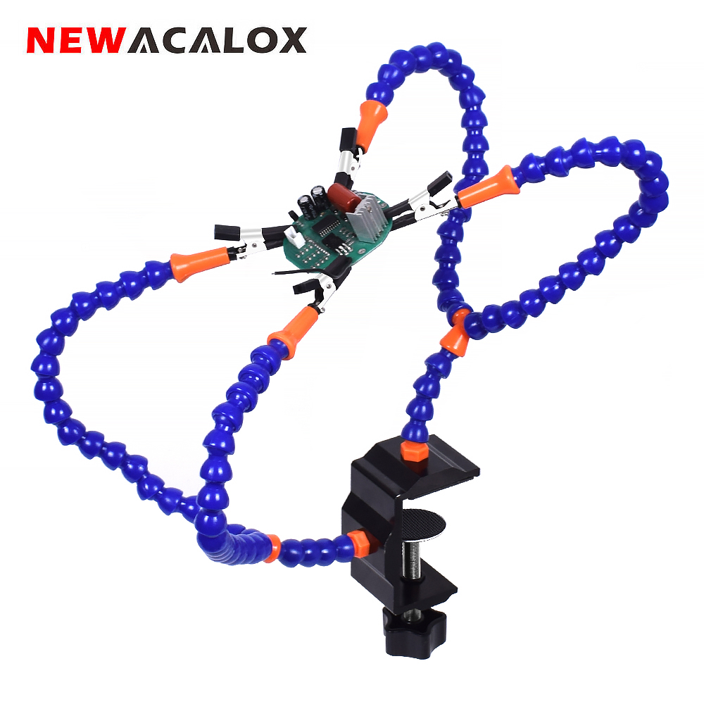 NEWACALOX Third Hand Tool Table Clamp Soldering Helping Hand Flexible Arm Alligator Clip PCB Board Holder Stand Soldering Holder