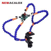 Newacalox terceira mão ferramenta de mesa braçadeira de solda ajudando mão flexível braço jacaré clipe pcb placa titular suporte de solda|Estações de solda| |  -