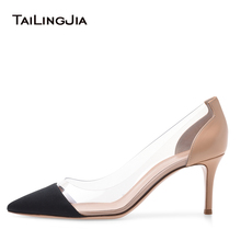 цена PVC Pointed toe High Heel Pumps Mid Heel Court Shoes for Women Dress Heels Ladies Summer Shoes Large Size Heel Height 8.5cm 2018 онлайн в 2017 году