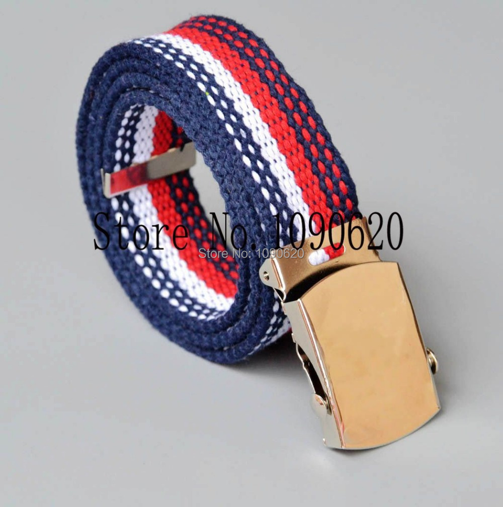 Children  belt boy striped canvas belt with shiny buckle flexiable length toddlers stripe belt 85x3.0cm ...