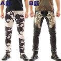 2016 Novidade Masculino Camuflagem Calças de Couro Trajes Boate cantor dj ds de punk calças magros dos homens masculinos calças moda elegante