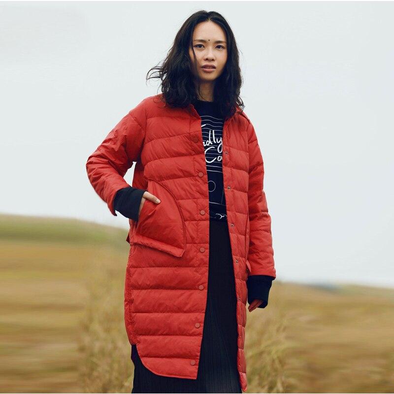 Samstree Winter Solid Women   Down     Coats   Turn-  down   Collar Female Parka Thick   Coats   Harajuku Straight Lady Long Jacket