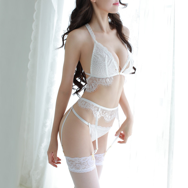 Sexy Lace Underwear Set Bra + Panties + Garters 2 colour