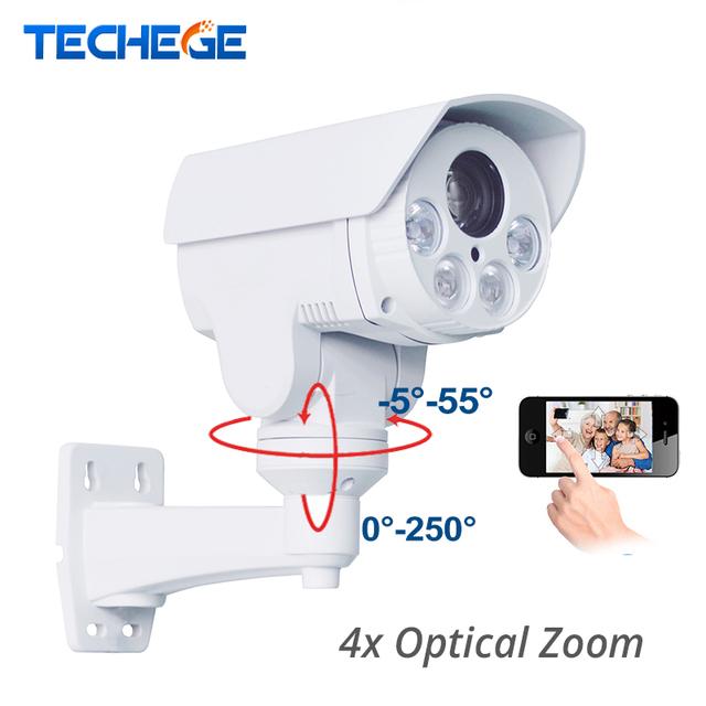 4x zoom óptico auto sony hi3516c + imx322 techege 2.0mp hd 1080 p bala ip câmera ptz ao ar livre à prova de intempéries night vision ir 80 m