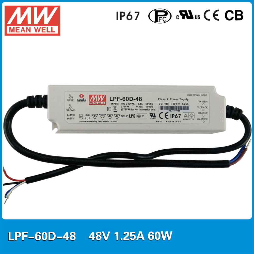 все цены на Original Meanwell LPF-60D-48 60W 1.25A 48V dc power supply dimming IP67 waterproof LED driver for LED lighting онлайн