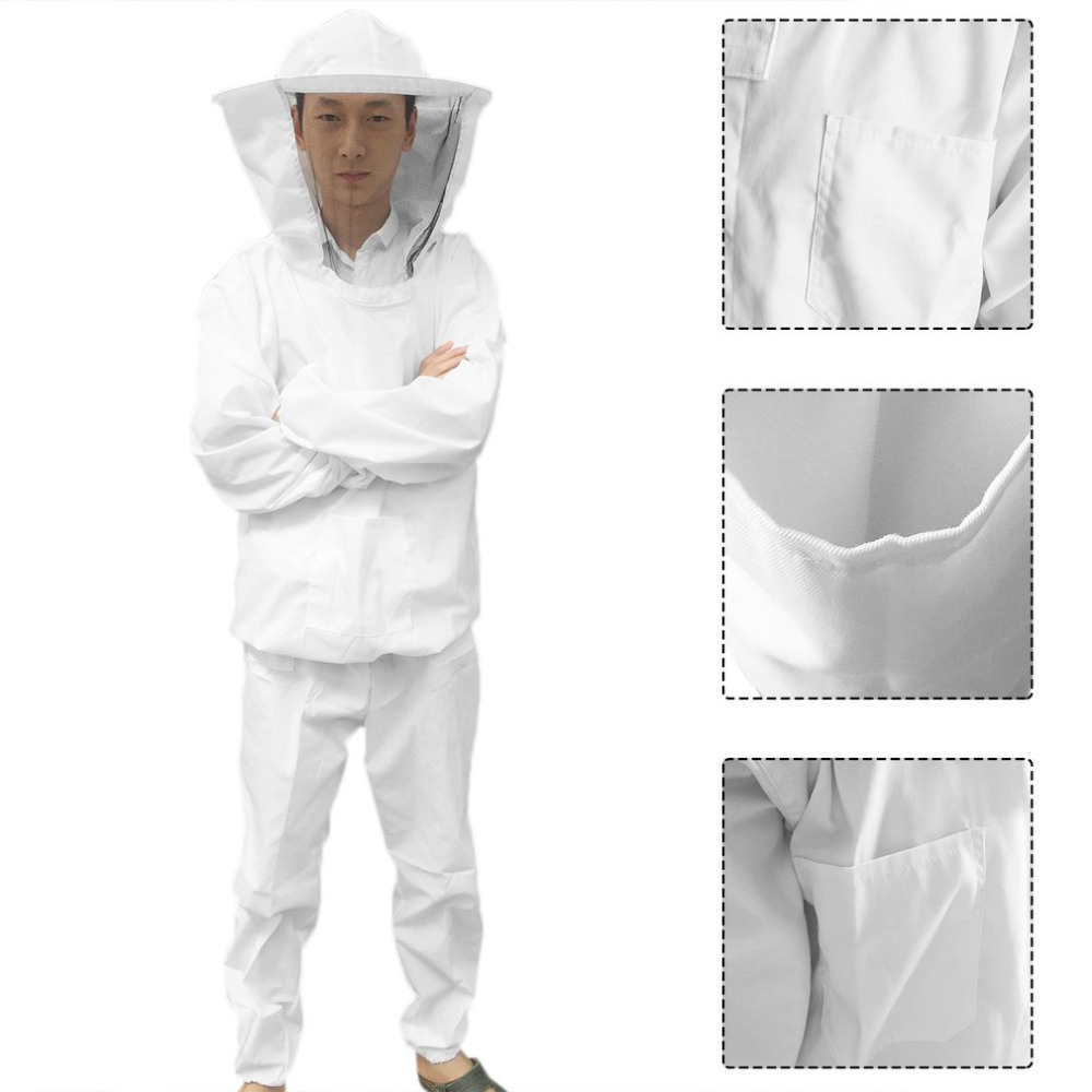 Beekeeping Protective Equipment Veil Bee Keeping FULL BODY Suit Hat Smock S-XXL White Cotton Beekeeping Jacket beekeeper beekeeping protective veil suit smock bee hat gloves full body set new safety clothing