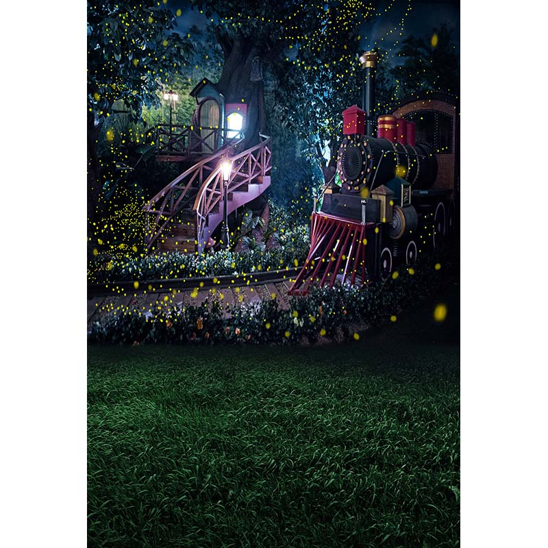 Fairy tale wedding vinyl cloth tree house Railway fantasy photography backdrops for children photo background studio portrait