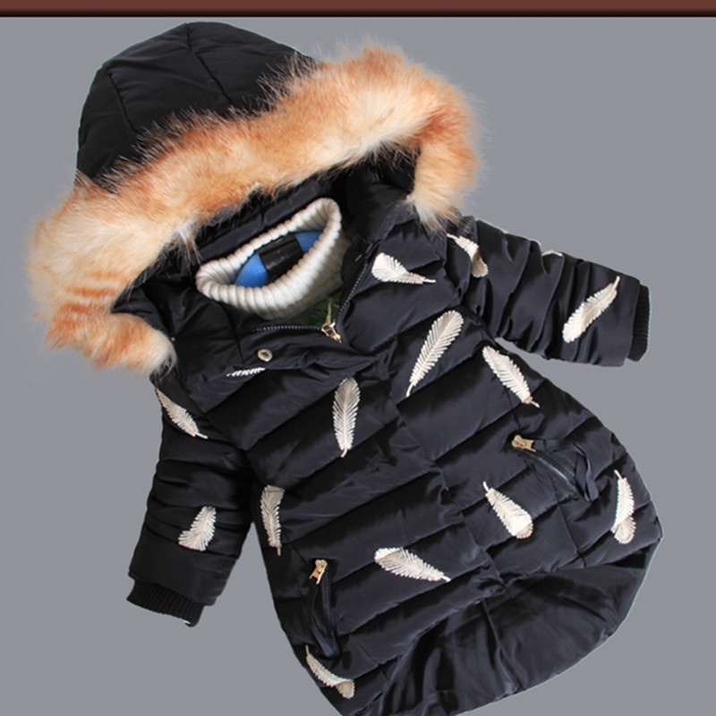 Kids Jackets With Fur Hooded Feather Printing Coat Winter Long Warm Children Outwear For Girls Cotton-Padded Parkas Down jackets for girls winter cotton down jacket for girl down parkas with fur hooded polka dot outwear coats children s clothing hot