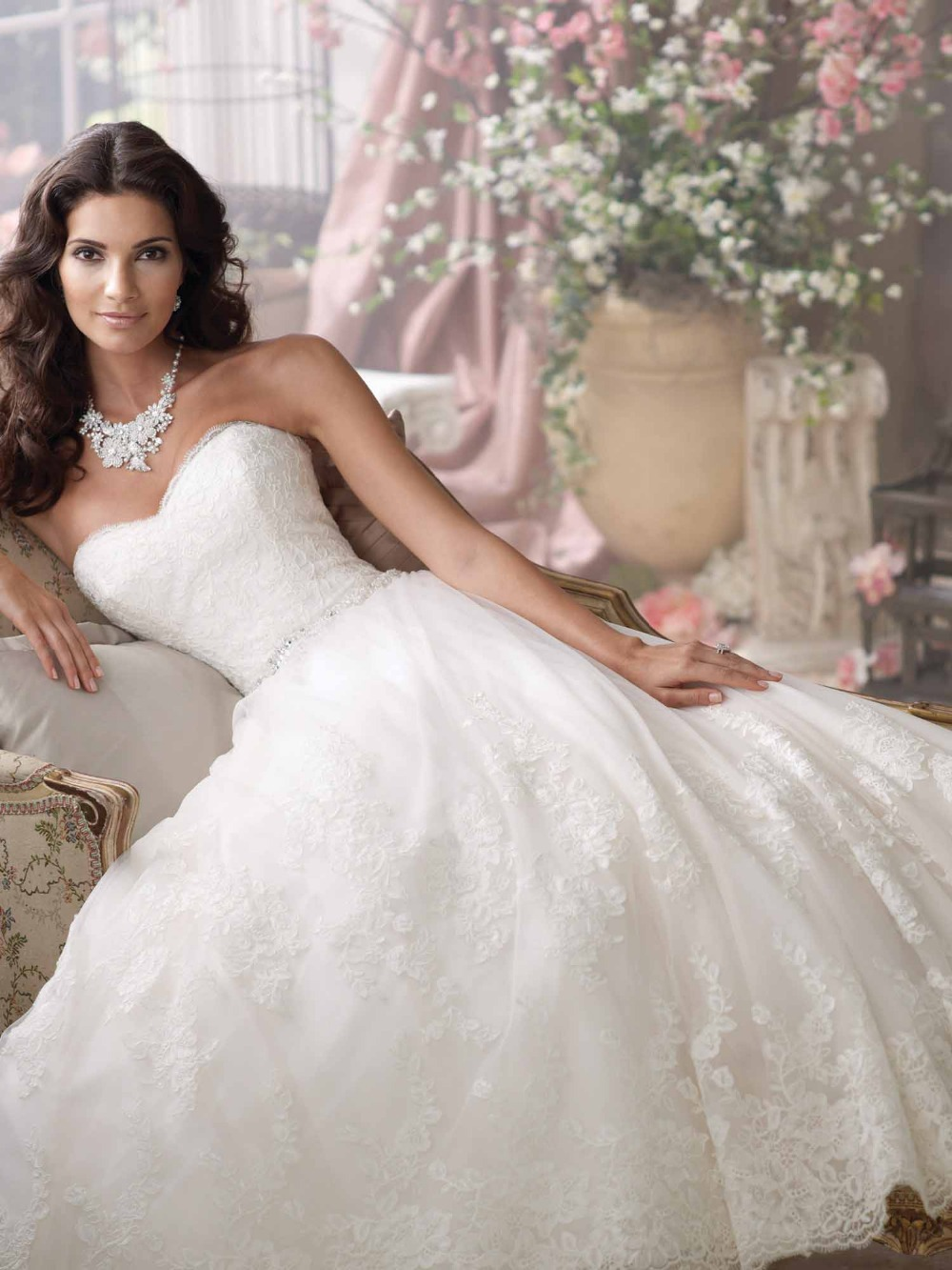 Long Lace Sleeves Modest Wedding Dress With Big Bow On The Back pid big wedding dresses Long Lace Sleeves Modest Wedding Dress With Big Bow On The Back