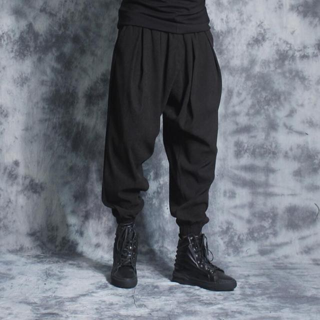 fc63eff9df2 Summer new casual pants men loose tide nine pants fashion black harem pants  beam legs wide leg lantern pants singer costumes