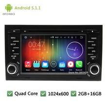 Quad core Android 5.1.1 2Din 7″ 1024*600 WIFI DAB+ Car DVD Player Radio Audio Stereo PC Screen GPS For Audi A4 S4 RS4 2002-2008