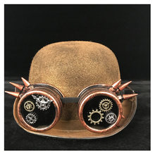 Frauen Steampunk Bowler Hut Dame Gold Patch Getriebe Gläser Top Hüte Fedora Headwear Cosplay Katze Ohr Billycock Bräutigam Hut(China)