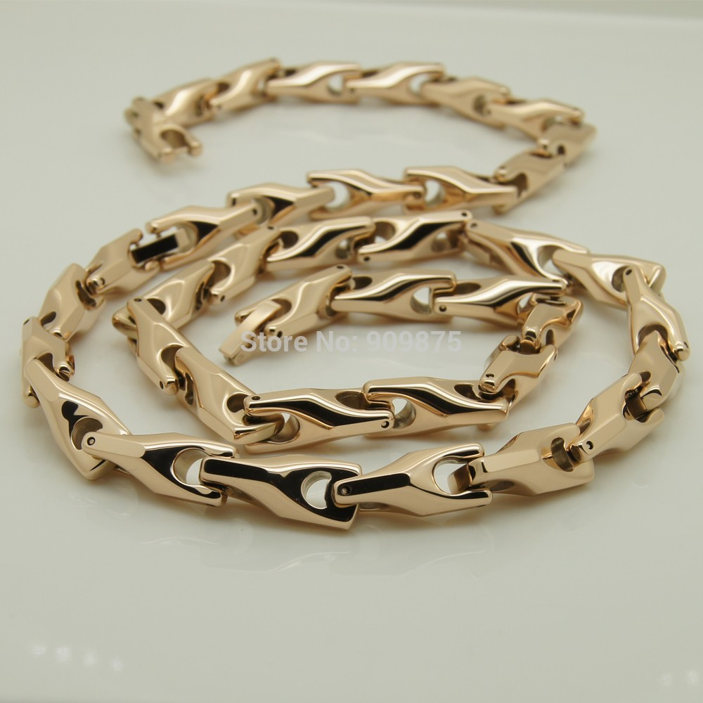 vary width length 14''-40''  8mm width rose gold plating classic design bike chain men/women  hi-tech  tungsten necklaces