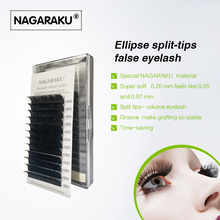 NAGARAKU  Flat Ellipse Eyelash Extensions split tips ellipse shaped natural  light false ellipse eyelashes