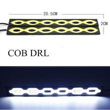 Alta quality2pcs luzes COB Car Auto luz forma de onda 12 W super Bright Running luz COB Luzes Diurnas 2 unidades/lotes