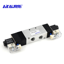5-port 3-position double solenoid valve 1Pcs 4V430-15 AC220V Pneumatic air valve 1/2