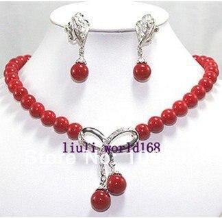 beautful prata coral vermelho colar brincos