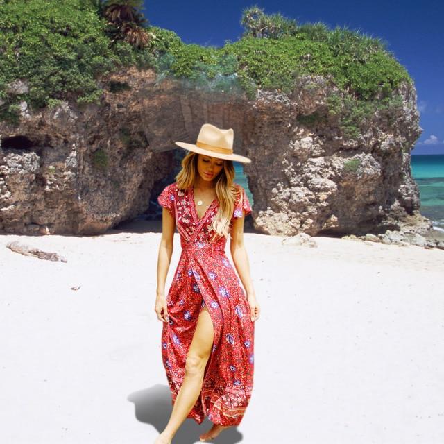 3XL Sexy Long Maxi Dress Women Summer Floral Slip Boho Beach Dress Short Sleeve Evening Party Dress Vestidos Plus Size Blue