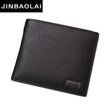 Luxury 100% Genuine Leather Wallets Fashion Short Bifold Men Wallet Casual Soild Wallet Men With Coin Pocket Purse Male Wallets
